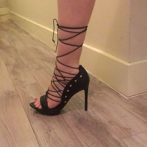 Black and gold studded scrappy heels